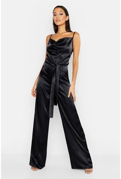 Womens Black Tall Satin Wide Leg Cowl Neck Jumpsuit