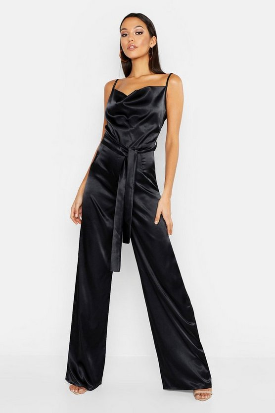 Tall Satin Wide Leg Cowl Neck Jumpsuit, Donna