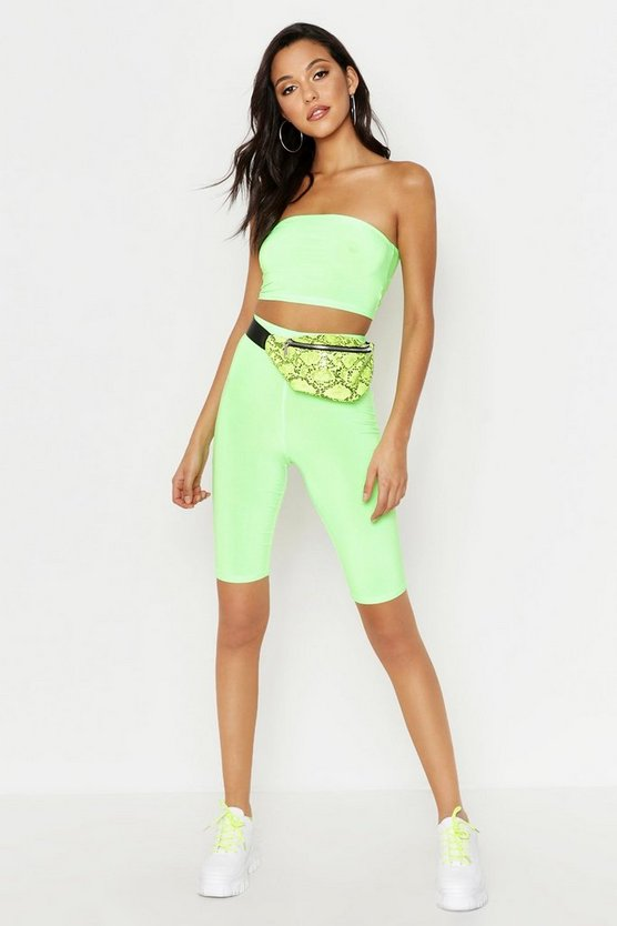 Womens Neon-lime Tall Neon Cycling Shorts