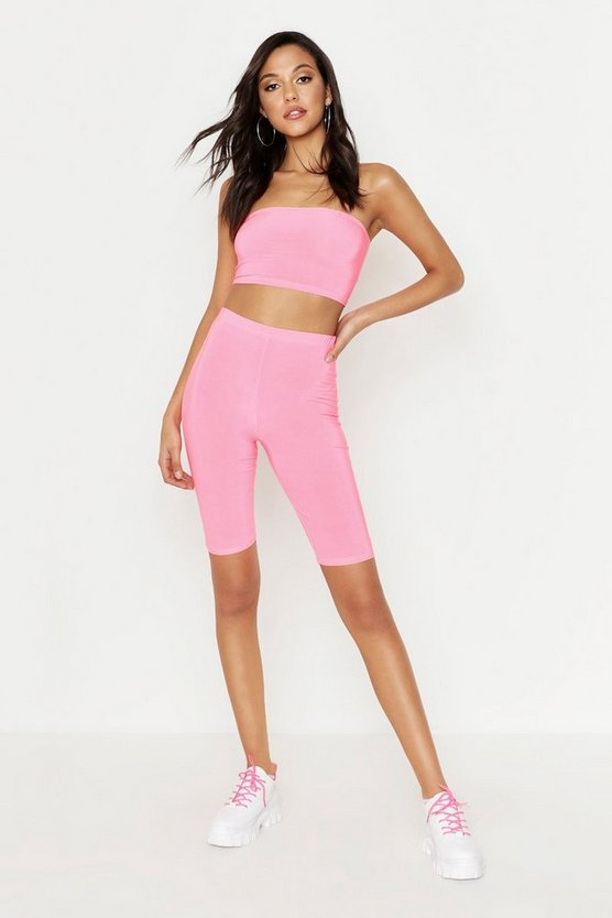 Womens Neon-pink Tall Neon Cycling Shorts