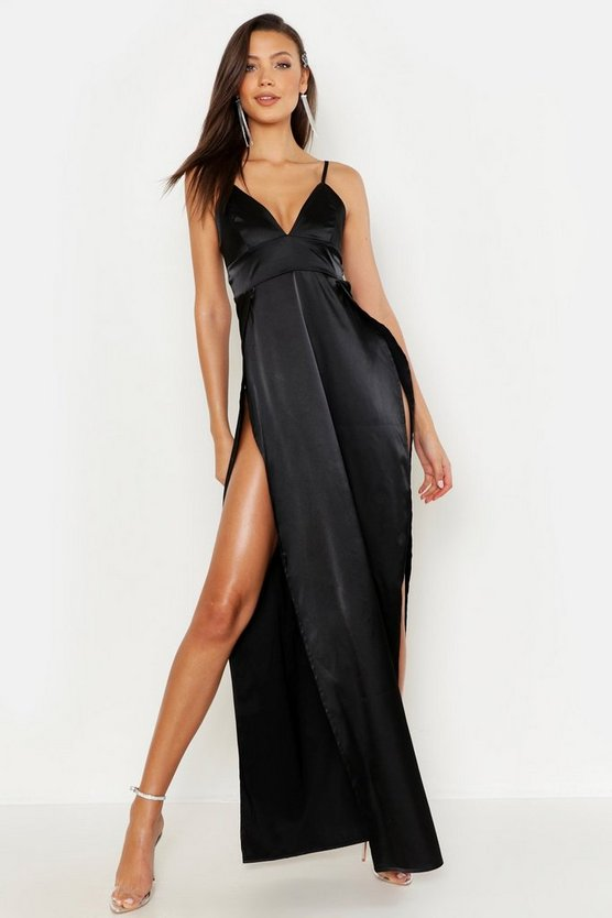 Womens Black Tall Satin Side Split Maxi Dress