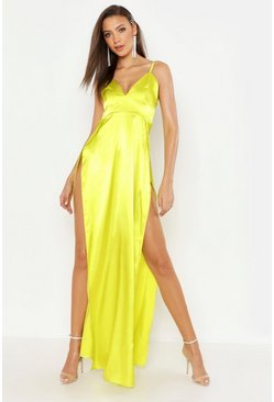 Womens Chartreuse Tall Satin Side Split Maxi Dress