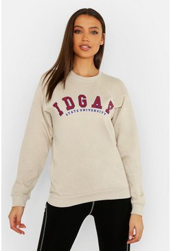 Womens Stone Tall IDGAF Slogan Sweater