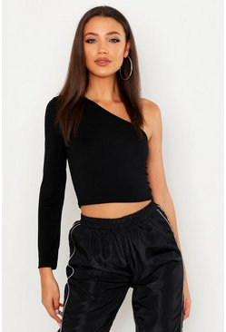 Tall kurzes One-Shoulder-Top, Schwarz, Damen