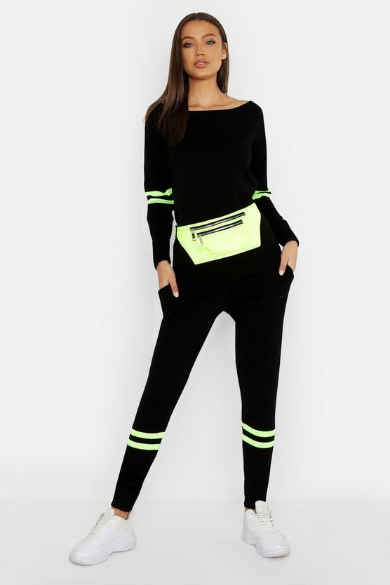 Womens Black Tall Neon Stripe Knitted Lounge Set