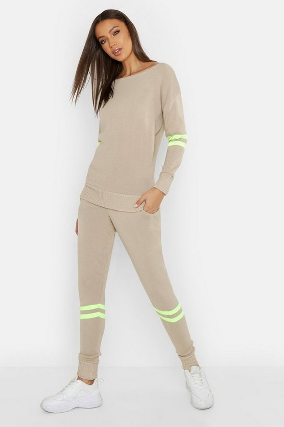 Womens Stone Tall Neon Stripe Knitted Lounge Set
