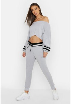 Womens Grey Tall Sports Stripe Crop Knitted Lounge Set