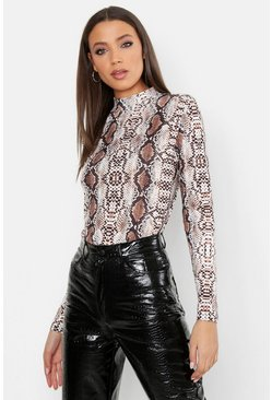 Womens Brown Tall High Neck Snake Print Top