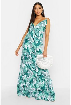 Leaf green Tall Palm Print Ruffle Hem Maxi Dress