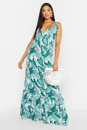 Womens Leaf green Tall Palm Print Ruffle Hem Maxi Dress