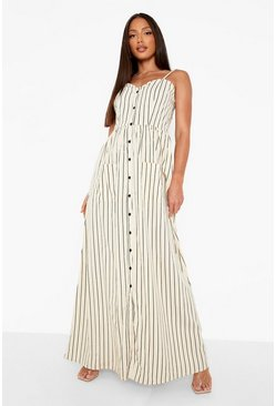 Tall Stripe Button Up Pocket Maxi Dress, Stone, Donna