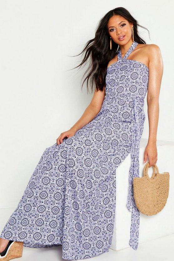 Womens Blue Tall Printed Halter Twist Belted Maxi Dress