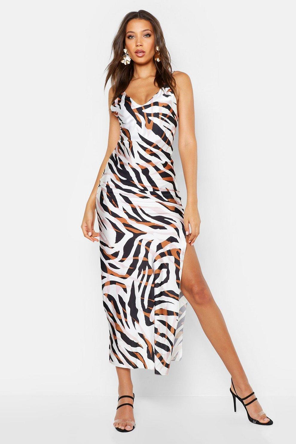 2e19475f0b Tall Zebra Print Satin Slip Dress | Boohoo