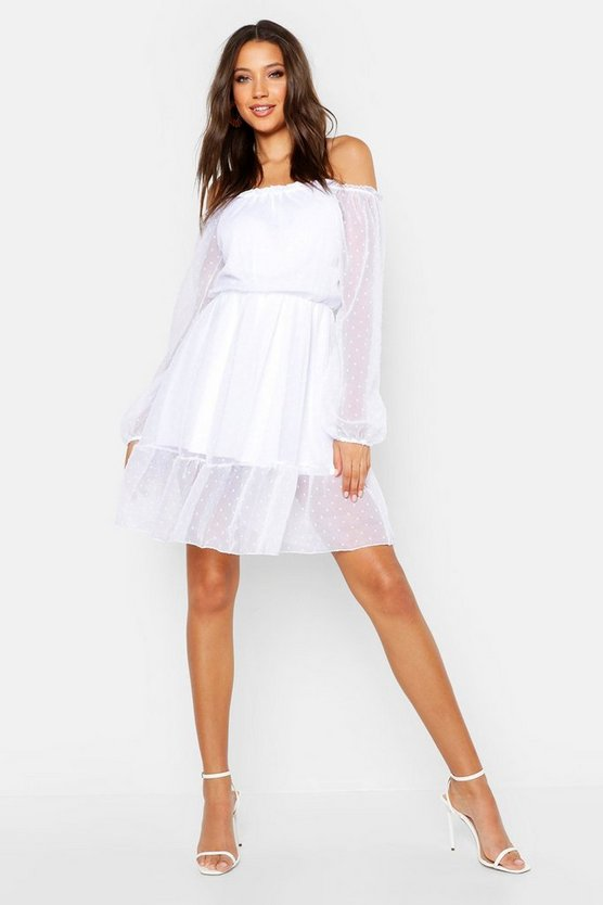 Womens White Tall Bardot Dobbymesh Skater Dress
