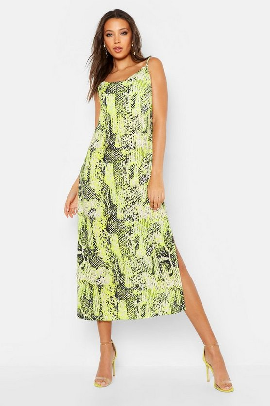 Womens Lime Tall Cowl Satin Snake Midi Dress