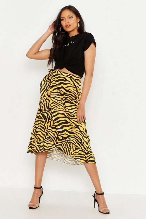 Womens Yellow Tall Tiger Print Ruffle Wrap Skirt