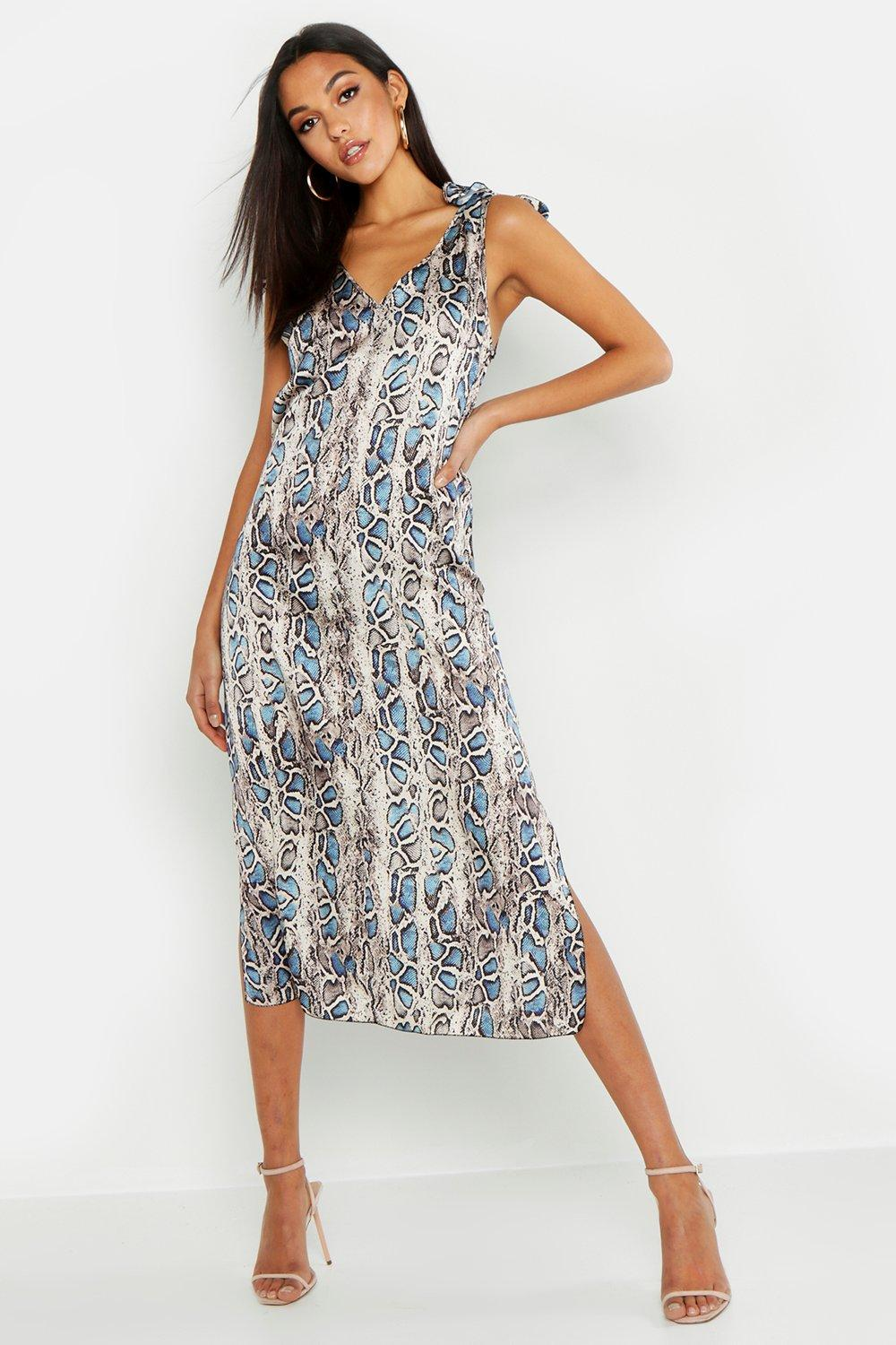 Tall Tie Strap V Neck Snake Slip Midi Dress