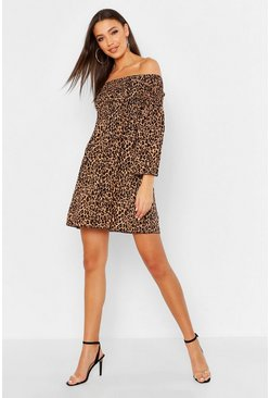 Womens Tan Tall Leopard Shirred Shift Dress