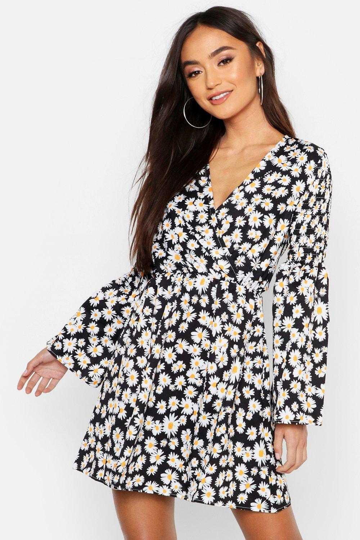 Petite Floral Shirred Shoulder Skater Dress