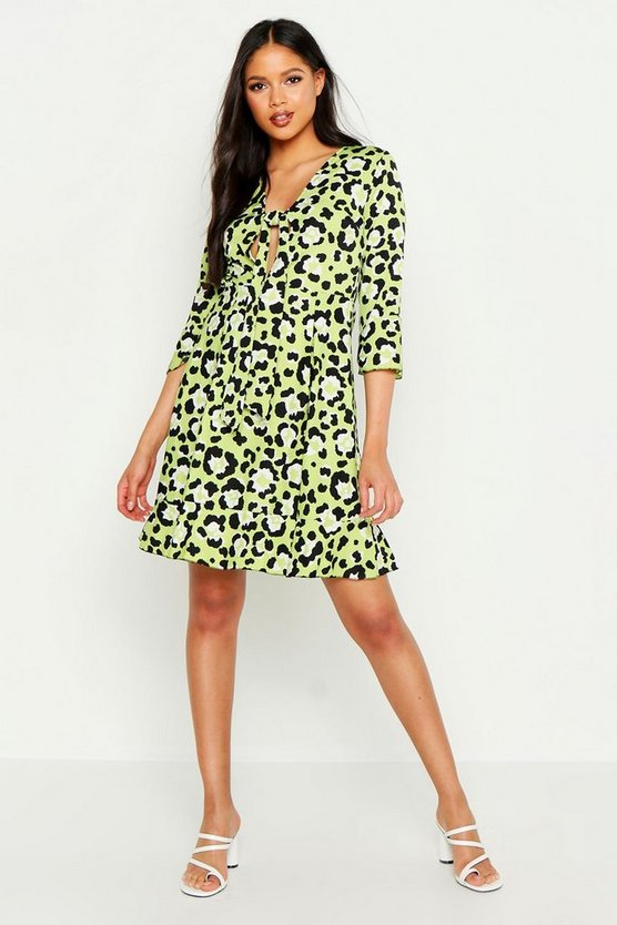 Womens Lime Tall Front Ruffle Shift Dress