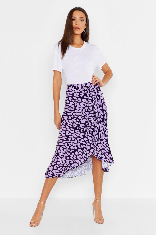 Tall Leopard Print Ruffle Midi Skirt