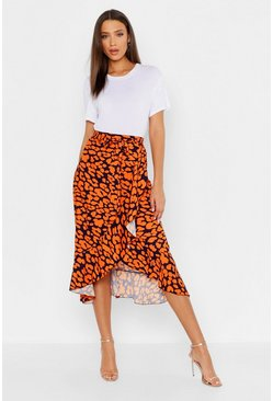 Womens Orange Tall Leopard Print Ruffle Midi Skirt