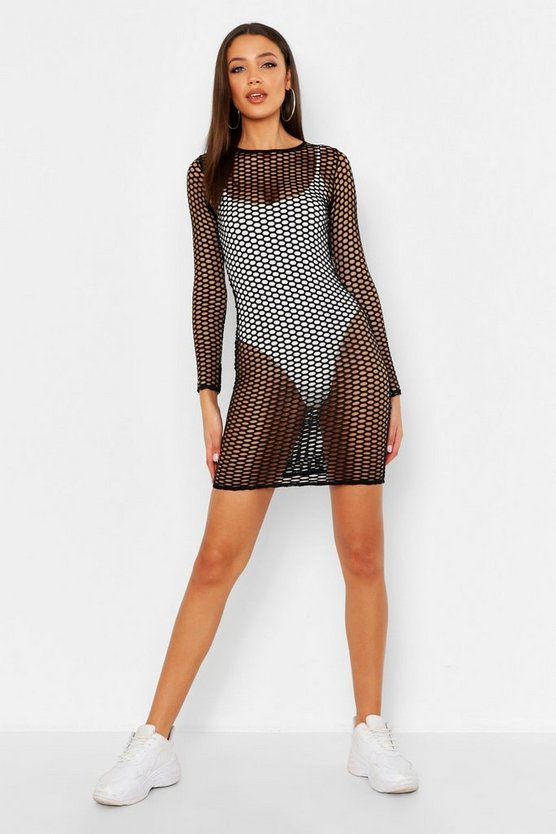 Womens Tall Mesh Bodycon Mini Dress