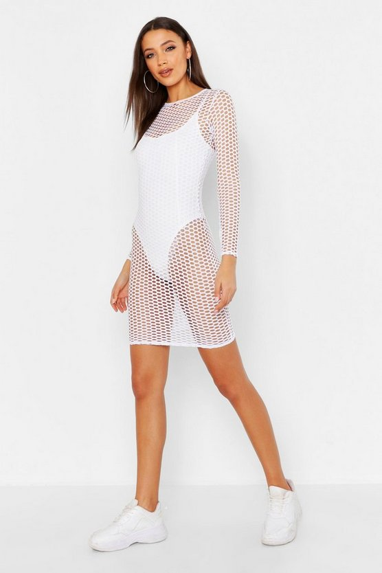 Womens White Tall Mesh Bodycon Mini Dress