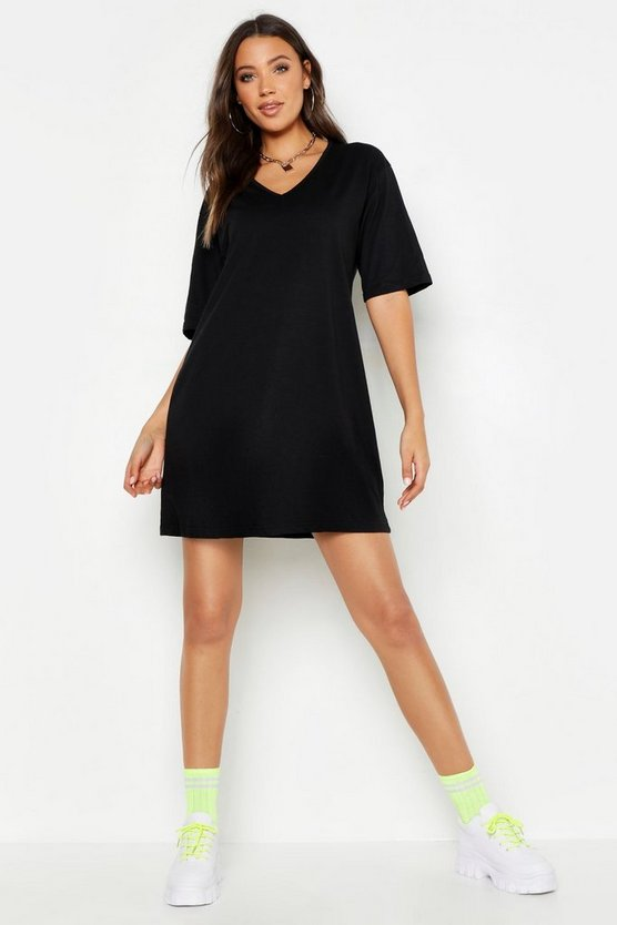 Womens Black Tall Cotton Oversized V Neck T Shirt Dress