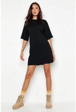 Womens Black Tall Cotton Oversized T Shirt Dress