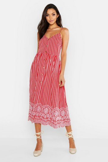 Womens Red Tall Stripe Embroidered Hem Midi Dress