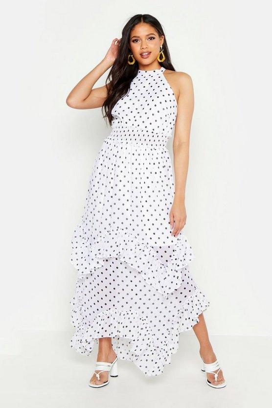 Womens White Tall Polka Dot Shirred High Neck Maxi Dress