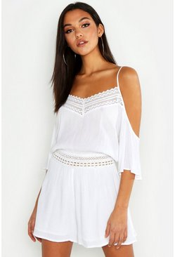 Tall Lace Detail Crinkle Cold Shoulder Playsuit, White, Donna