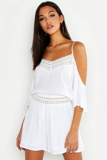 White Tall Lace Detail Crinkle Cold Shoulder Playsuit