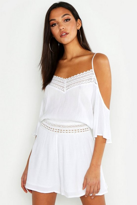 Womens White Tall Lace Detail Crinkle Cold Shoulder Playsuit