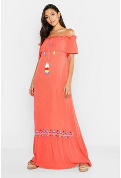 Womens Coral Tall Bohemian Embroidered Maxi Dress