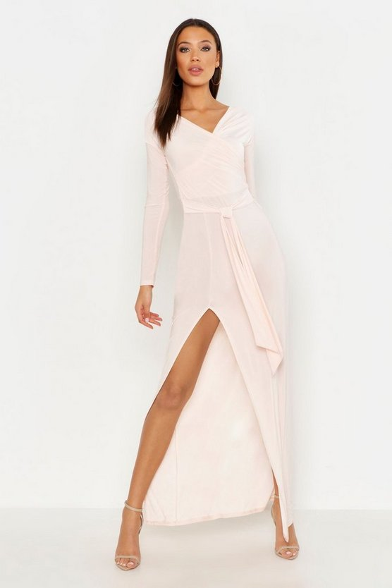 Tall Off The Shoulder Slinky Maxi Dress, Blush, Donna