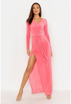 Womens Coral Tall Off The Shoulder Slinky Maxi Dress
