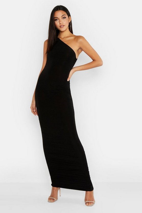 Womens Black Tall Ruched One Shoulder Maxi Dress