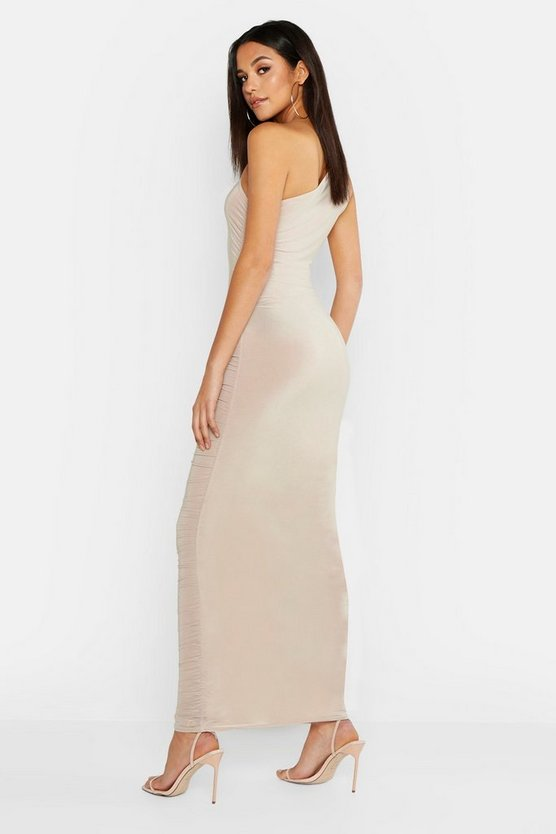 Womens Stone Tall Ruched One Shoulder Maxi Dress