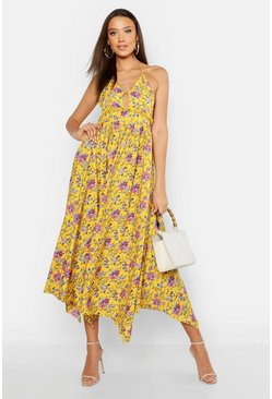 Womens Mustard Tall Floral Strappy Halter Neck Maxi Dress