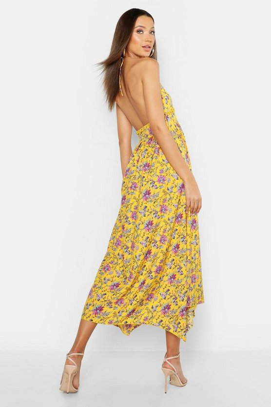 Tall Floral Strappy Halter Neck Maxi Dress