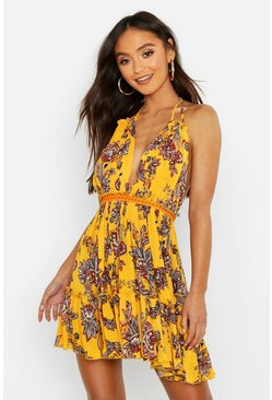 Womens Yellow Petite Paisley Embroidered Skater Dress