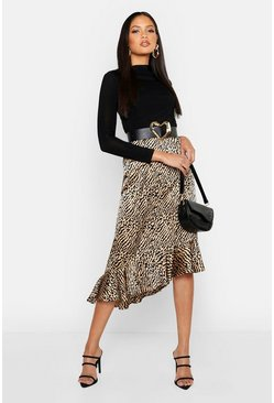 Womens Sand Tall Ruffle Hem Animal Print Skirt