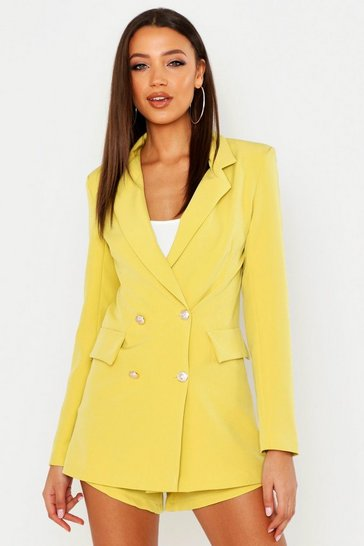 Womens Yellow Tall Button Detail Tailored Blazer