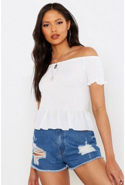 Womens White Tall Off The Shoulder Shirred Top