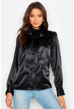 Womens Black Tall Tie Neck Satin Shirt