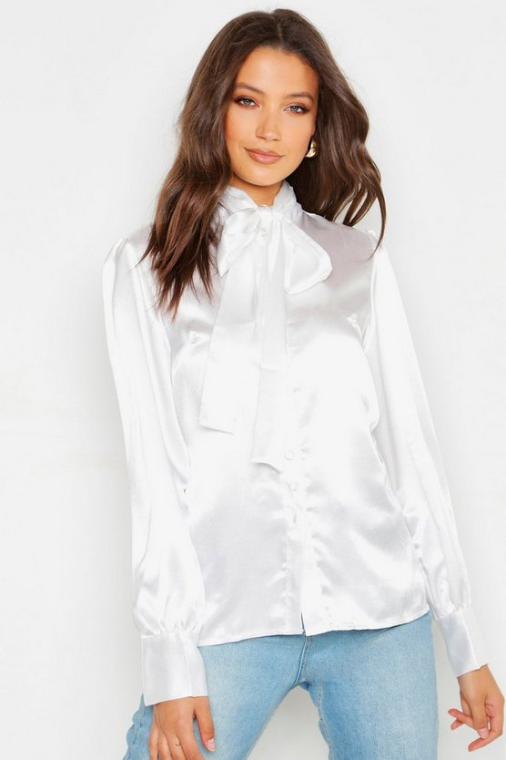 Womens White Tall Tie Neck Satin Shirt