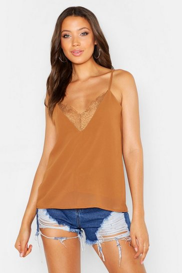 Womens Camel Tall Lace Strappy Cami Top