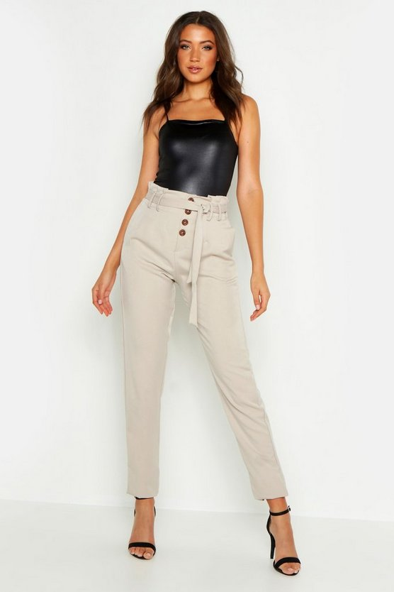 Womens Stone Tall Tie Front Button Tapered Pants